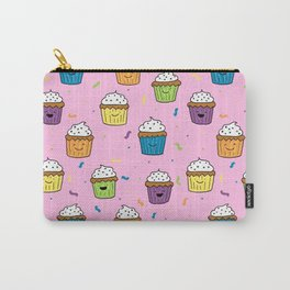 Cute Happy Fun Cupcakes with pink background Carry-All Pouch