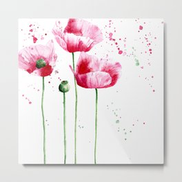 Expressive poppies || watercolor Metal Print