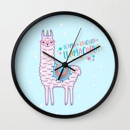 llama unicorn llamacorn pink lama alpaca funny cute gift Wall Clock