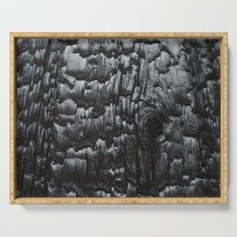 Charred wooden wall. Serving Tray