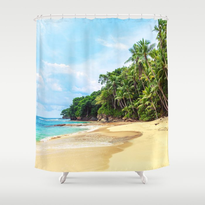 Tropical Beach - Landscape Nature Photography Shower Curtain