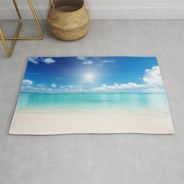 Beach Sun Clouds Ocean Blues Sunshine Waves Seaside Rug