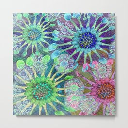 Abstract Passion Flower Burst Metal Print