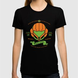 Video Game Gamer Geek Metroid Inspired Orange Armor Space Warrior T-shirt