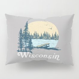 Vintage Wisconsin Dock on a Lake Pillow Sham
