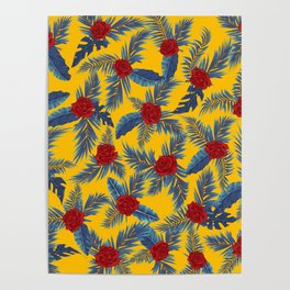 Abstract roses and leaves pattern Poster