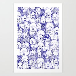 just alpacas blue white Art Print