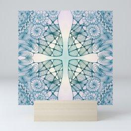 Blue Wash Zentangled Cross Tile Doodle Design Mini Art Print