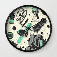 ashton irwin Wall Clocks featuring Space Funk by Josh Ln