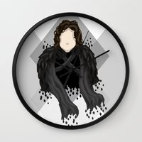 jon snow Wall Clocks featuring Jon Snow by itsamoose
