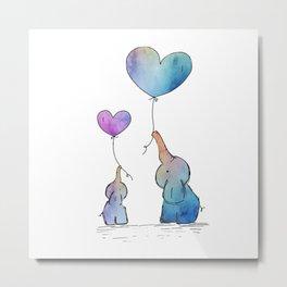 Colorful Watercolor Elephants Love Metal Print