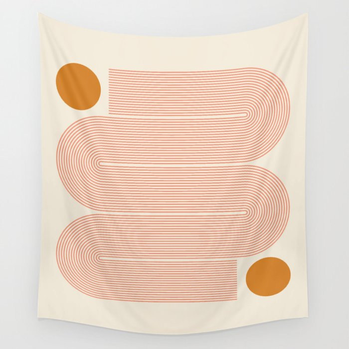 Abstraction_SUN_LINE_ART_Minimalism_002 Wall Tapestry