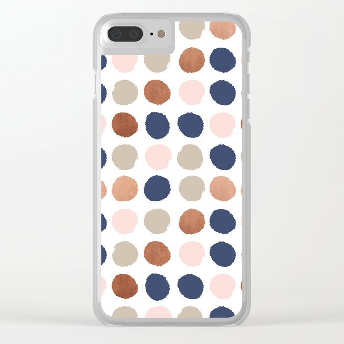 low priced c52d2 511bd Rose Gold navy copper sparkle modern dots polka dots rosegold trendy  pattern cell phone accessories Clear iPhone Case by charlottewinter