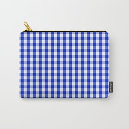 Cobalt Blue and White Gingham Check Plaid Squared Pattern Carry-All Pouch
