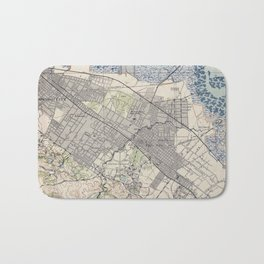 Old Map of Palo Alto & Silicon Valley CA (1943) Bath Mat