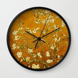 Almond Blossoms- Orange Wall Clock
