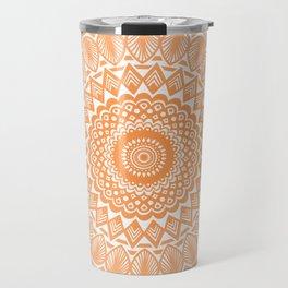 Orange Tangerine Mandala Detailed Textured Minimal Minimalistic Travel Mug