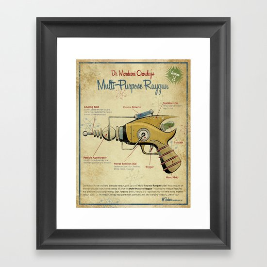 Retro Futuristic, Steampunk Raygun Framed Art Print