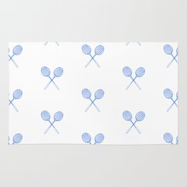 Blue Badminton Racket Pattern in Criss Cross Rug