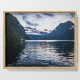 Milford Sound over night cruise at beautiful Harrison Cove Serving Tray