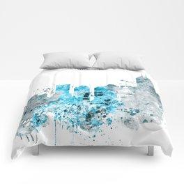 Indianapolis Monochrome Blue Skyline Comforters