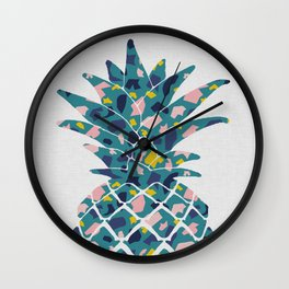 Pineapple Teal Wall Clock