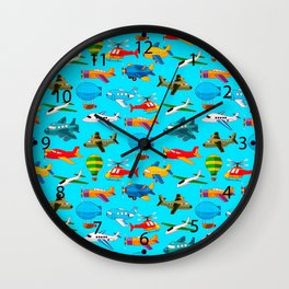 Cute Airplanes Helicopters Airships  Pattern Wall Clock