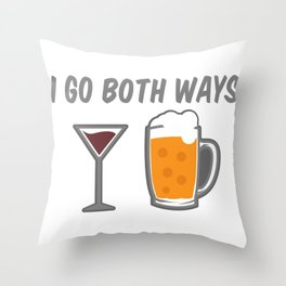 I Go Both Ways Wine Beer Drinking Alcohol Beer Wine Lover Throw Pillow