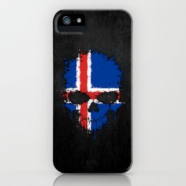 Flag of Iceland on a Chaotic Splatter Skull iPhone Case