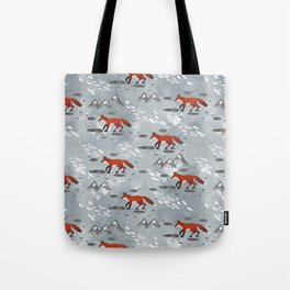 Little Mountain Foxes Grey Tote Bag