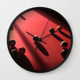Blood Red Billiard Table and Balls Wall Clock