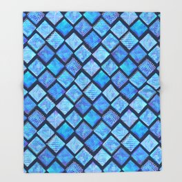 Blue Watercolor Tiles with White Texture Throw Blanket