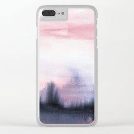 Abstract Watercolor Forest Clear iPhone Case