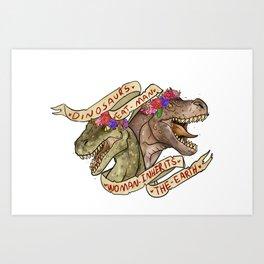 Dinosaur Eat Man. Woman Inherits the Earth Art Print