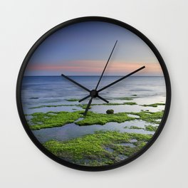 Green and blue. Sunset Wall Clock