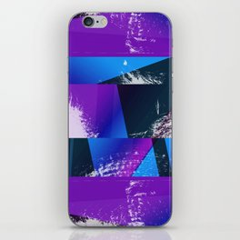 Purple and Cyan Abstract Glitch Collage iPhone Skin