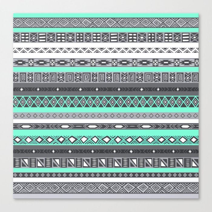 Tiffany Turquoise Aztec Print Canvas