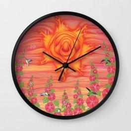 molten sun with hummingbirds and hollyhocks Wall Clock