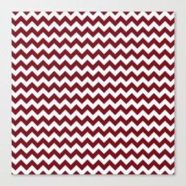 Burgundy white modern geometrical chevron pattern Canvas Print