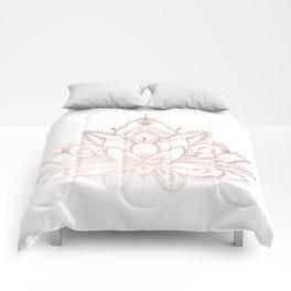 Boho Lotus Rose Gold Comforters