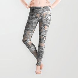 Paris toile sugar pink Leggings