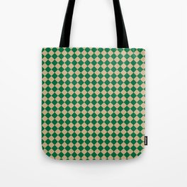 Tan Brown and Cadmium Green Diamonds Tote Bag