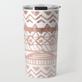 Faux rose gold handdrawn trendy tribal aztec pattern Travel Mug
