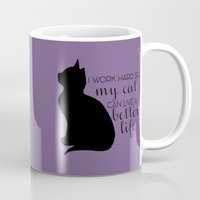 work hard Mugs featuring work hard by canvasskin
