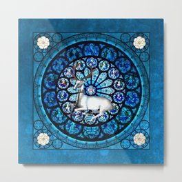 White Stag Stained Glass Metal Print