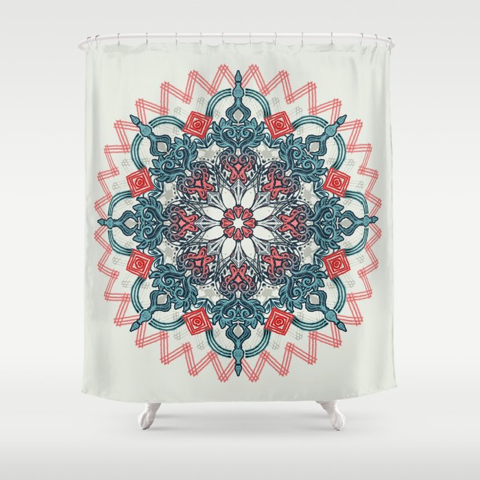 Coral Teal Tangle Medallion Shower Curtain