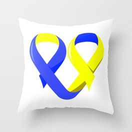 Ribbon Heart graphic Down Syndrome Awareness For Moms Throw Pillow