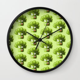 Green Funny Cartoon Broccoli Wall Clock