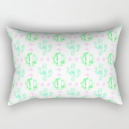 Green and pink watercolor cactus Rectangular Pillow