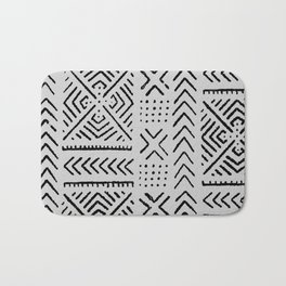Line Mud Cloth // Light Grey Bath Mat